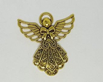 Gold Angel Pendant - 2 pcs. - Gold Angel - Angel Charm -  Christian Charm  -  Angel Pendant