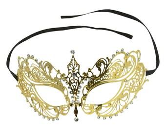 Gold Laser Cut Masquerade Mask with Clear Rhinestones Venetian Masquerade Mask, Mardi Gras, Wedding. BA001GD