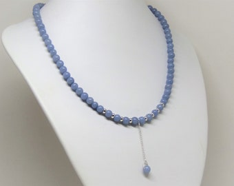 Necklace light blue angelite with pendant