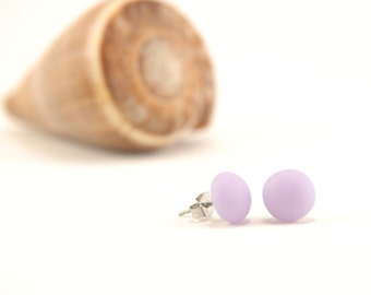Large etched pale lavender purple ball stud earrings, fused glass with stainless steel earring posts