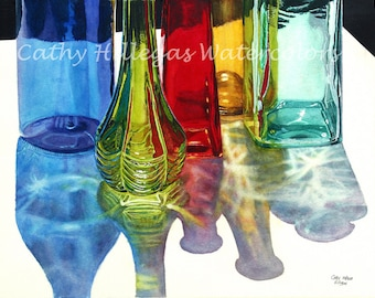 Glass Bottles in Sun watercolor painting print 16x20 Blue Green Red Yellow Teal Cathy Hillegas, watercolor print, glass art, rainbow colors