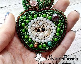handmade brooch  beads brooch green apple accessories jewerly bijouterie viktoriabeads