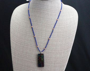 Dichroic Glass Pendant with Lapis and Copper