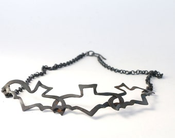 Oxidized Copper Bat Necklace