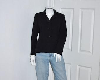 Women's blazer - vintage wool blazer - fitted jacket - smart style - navy blue blazer - work office clothes - woolen blazer