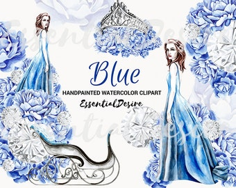 Winter Fashion Clipart, Snow Queen, Blue Flowers Clip Art, Watercolor Fashion Illustration, Planner Stickers, Planner Girl Clipart Blue
