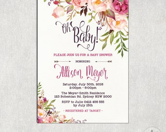 Floral BABY SHOWER Digital Invitation. Cottage Chic Baby Girl Shower. Watercolor Flower Baby Shower Invite. High Tea Garden Party. FLO7