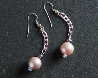 50% OFF SALE Pink Vintage Faux Pearl Drop Dangle Earrings, Black Freshwater Pearls, Crystals, Pink Chain Jewelry Sterling Silver Ear Hooks