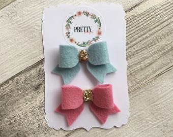 mini felt bow clips or headbands. Spring/ Summer christening, birthday, baby shower gift. Pretty pink, glitter. childs. Bridesmaid gift.