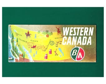 1961 B/A Western Canada Road Map. Rolph Clark Stone Copyright