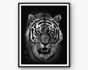 Tiger Print, Animal Wall Art, Tiger Poster, Nursery Print, Animal Print, Animal Photography, Modern Photo, Modern Photography