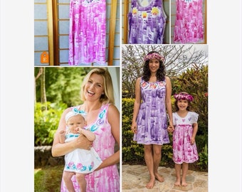 Mother Daughter Dresses  Matching Dresses Hand Painted Hawaii Dress Plus Size Dress Mothers Day Gift