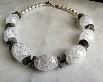 PearlsNatural Stones Clear Quartz Stones Swarovski Crystal and Metallic Discs Statemet Necklace--Rock Starlet--By Lady Grey Beads