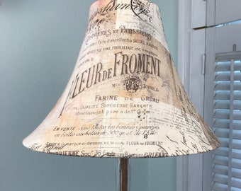 French Lamp Shade,  French Script Lamp Shade, French Country Lamp Shade, Beige and Brown Lamp Shade, Eclectic Lamp Shade