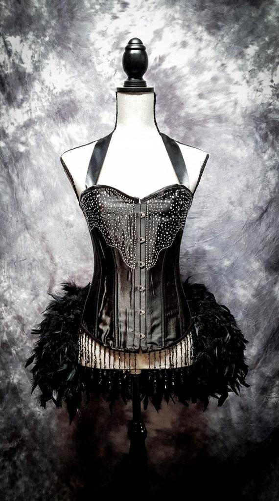 BLACK DIAMOND Steampunk Wedding Dress Burlesque Corset Costume EVERYTHING Included!!!