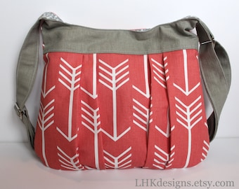 Flèche de corail et gris plissé sac bandoulière sac sac à main fourre-tout