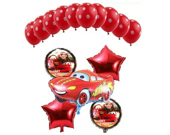 15pc. Pixar Cars Birthday Balloon Ensemble Bouquet ~ Party Supplies Decorations ~ Pixar Car Balloons