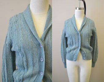 1970s Dusty Blue Cardigan Sweater