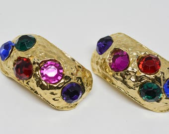 Lovely Large Gold Tone Multi Stone Earrings