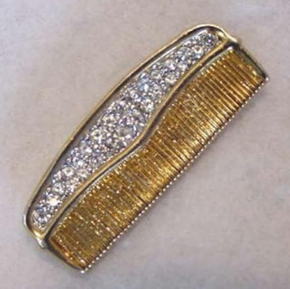 Quirky Cute Vintage Rhinestone Pin In Shape Of  Hair Comb