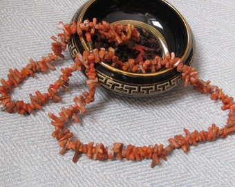 Coral Branch Necklace. Orange coral strand. Jewelry 1970s. Gift for Women. Natural gemstone beads. Mid Century.