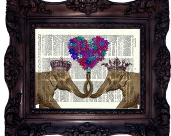 Elephant Print on Book Page. Elephant with flower heart. Vintage dictionary elephant print. Elephant in crown. Dictionary art Print. C:543