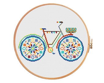 Summer bike with basket in bright colors - modern cross stitch pattern - geometric chevron bicycle modern shabby chic funny cute french blue