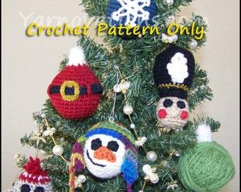 Christmas Ornaments Christmas Balls & Baubles Crochet Pattern - Snowman, Santa, Nutcracker, Sock Monkey, Snowflake