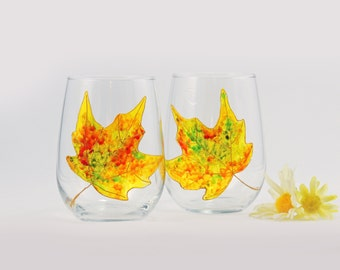 Maple leaf stemless wine glasses, set 2 hand painted glasses, Autumn Leaves collection