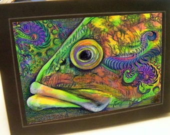 greeting card print of original art-  fish face  Zentangle