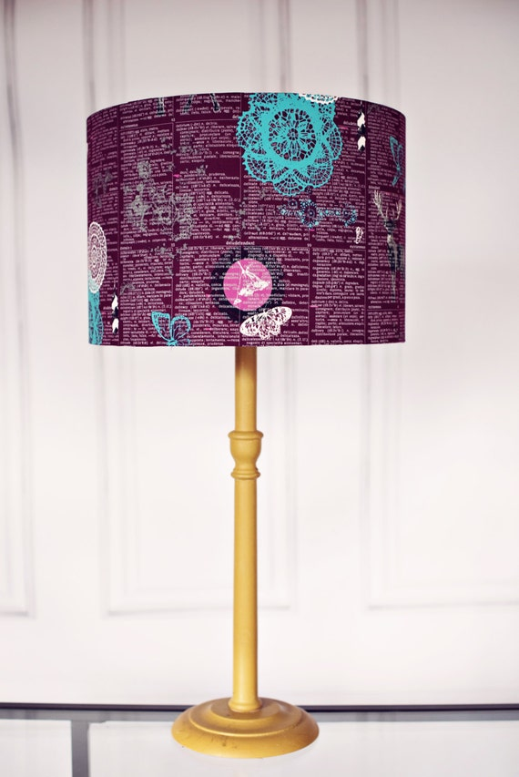 Purple lamp shade woodland lamp shade purple home decor like this item aloadofball Images