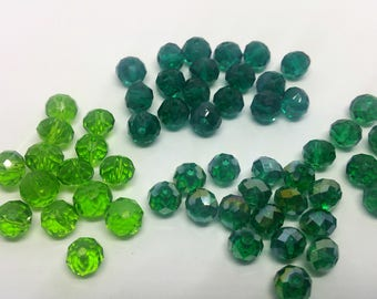 x 5 beads faceted oval - 6mm x 8mm - Green - shades to choose - Crystal from Austria
