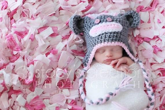 Baby Mädchen Sock Monkey Hut Hut häkeln Baby Girl Baby