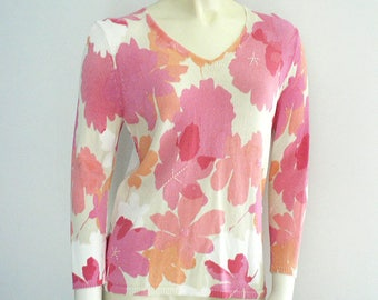 Women Floral Pull Over Knit Top V Neck Pink Coral White