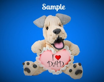 Wheaten Terrier Dog Father's Day Sculpture love DAD OOAK Clay art by Sally's Bits of Clay