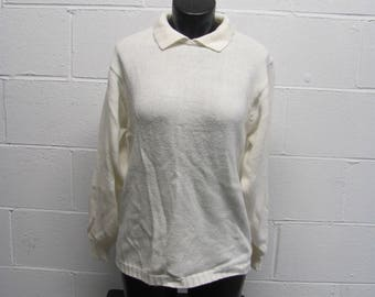 Womens Vintage Collared Knit Ivory Pullover Sweater Oversized Preppy Sweater 80s