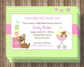 BABY SHOWER INVITATION/ Girl Baby Shower / Personalized/ Printable Digital File/ Baby Pink and Green Teddy Bear/ Baby Announcement