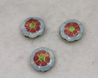 5 pcs Baby Blue Peach Cloisonne Flowers 19mm x 7mm