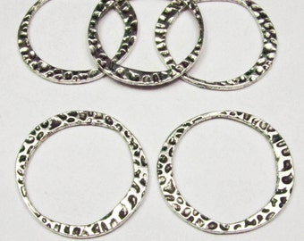 10pcs Antique Silver Hammered Ring Charm Pendants 30mm A501-3
