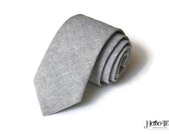 Light Gray Linen Necktie~Anniversary Gift~Wedding Tie~Mens Gift~Boys Necktie~Mens Necktie~Wedding~HoBo Ties~Mens Tie~Gray Linen~
