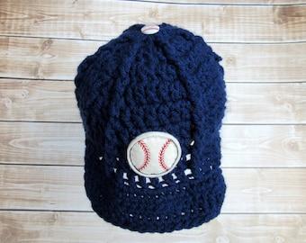 Newborn Baseball Hat, Infant Boy Hat, Newborn Baseball Cap, Newborn Photo Prop, Infant Boy Baseball Hat, Crochet Baby Beanie, Navy Blue