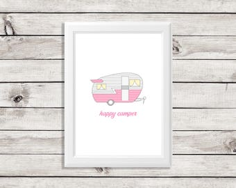 happy camper - vintage camper - shasta camper - airstream camper - happy camper sign - happy camper shirt - airstream trailer - shasta camp