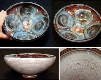 Vintage southwestern pottery bowl-handmade artist signed-mid century modern southwest