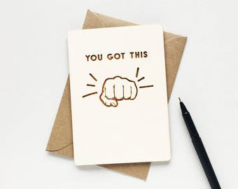 You Got This Wooden Card - wooden card - good luck card - new job card - postcard - keepsake card