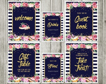 Table sign  - flower baby shower - Baby shower vintage - garden floral baby shower