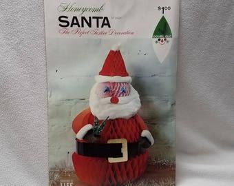 Vintage Doubl Glo Honeycomb Santa