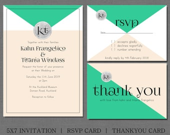 Turquoise and blush wedding invitation, with matching rsvp and thank you card. with silver monogram, customize yours by making it your color