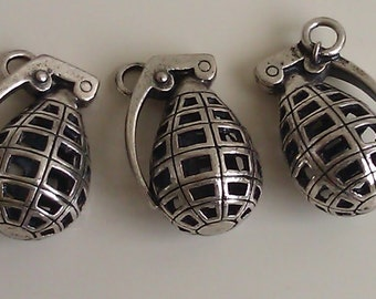 "4 Large Grenade Charm Pendant  Antique Silver Finish Tibetan Style Costume 1 1/2"" x 7/8"""