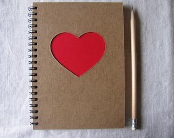Heart Peek-a-boo - 5 x 7 Journal- Your choice Peek a boo color