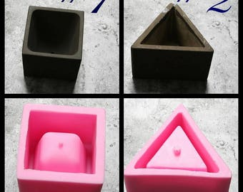 Silicone flower pot molds square or triangle